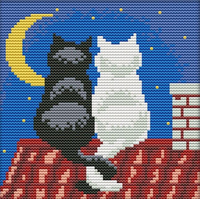 Набор для вышивания крестом 18х18 Два кота на крыше Joy Sunday D484