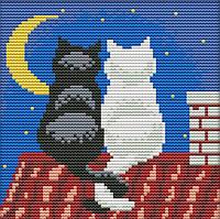 Набор для вышивания крестом 18х18 Два кота на крыше Joy Sunday D484, фото 1
