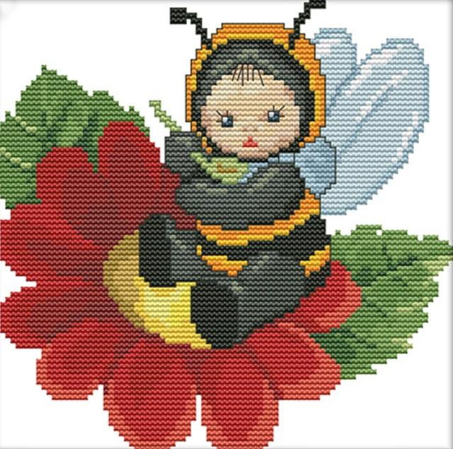 Набір для вишивання хрестом 21х21 На квіточці Joy Sunday D564