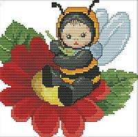 Набор для вышивания крестом 21х21 На цветочке Joy Sunday D564, фото 1