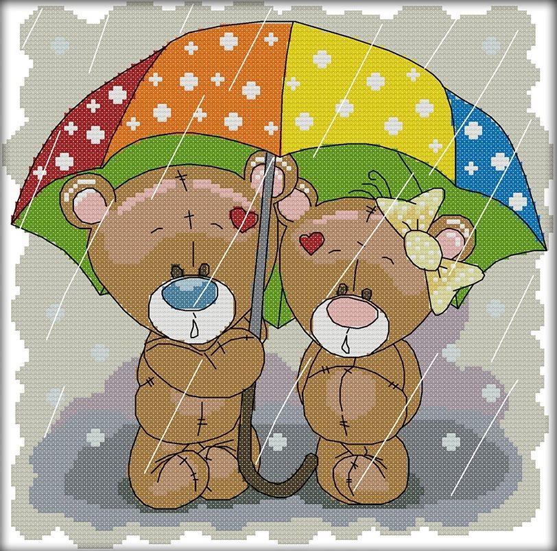 Набор для вышивания крестом 30х29 Мишки под зонтиком Joy Sunday C791