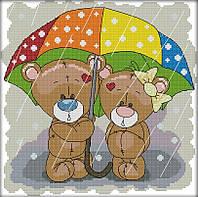 Набор для вышивания крестом 30х29 Мишки под зонтиком Joy Sunday C791, фото 1