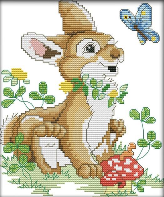 Набор для вышивания крестом 20х26 Зайчик Joy Sunday D556