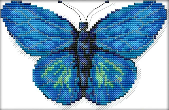 Набір для вишивання хрестом 25х18 Блакитна метелик Joy Sunday D515