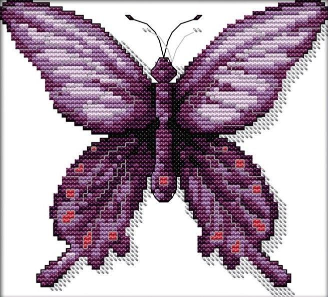 Набор для вышивания крестом 24х22 Фиолетовая бабочка Joy Sunday D475