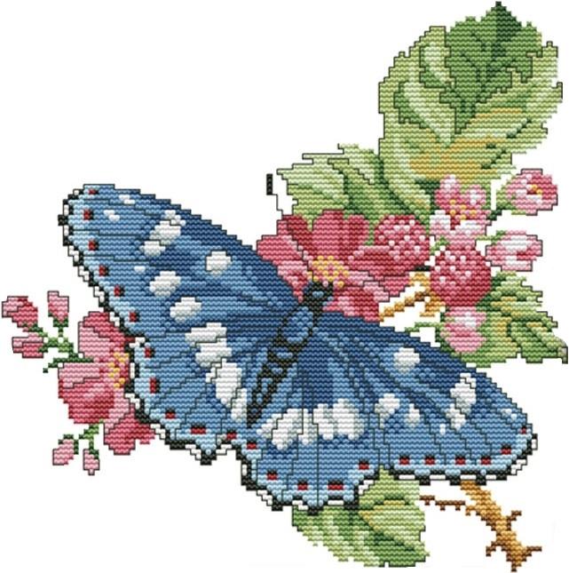 Набір для вишивання хрестом 28х28 Метелик на квітах Joy Sunday H537