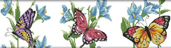 Набір для вишивання хрестом 55х17 Три метелики Joy Sunday DA151