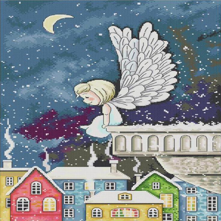 Набор для вышивания крестом 35х54 Ангел на крыше Joy Sunday RA245