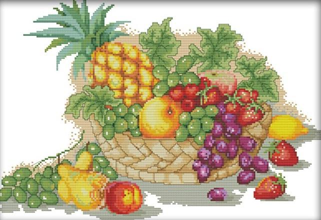Набор для вышивания крестом 44х32 Корзина с фруктами Joy Sunday J126