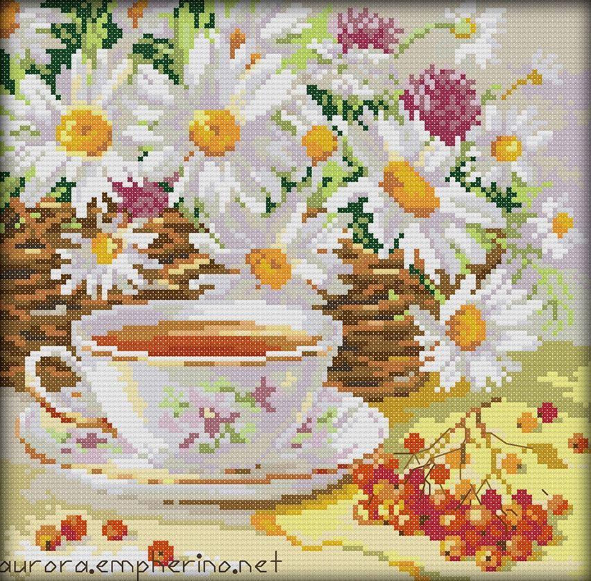 Набор для вышивания крестом 28х28 Ромашковый чай Joy Sunday J271