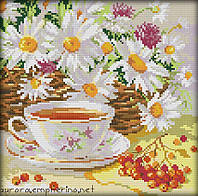 Набор для вышивания крестом 28х28 Ромашковый чай Joy Sunday J271, фото 1
