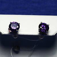 Серебряные серьги с фиолетовым камнем 2107ф, фото 1