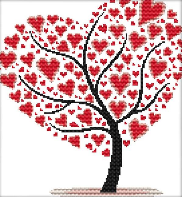 Набор для вышивания крестом 33х35 Дерево любви Joy Sunday J307