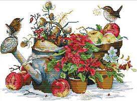 Набор для вышивания крестом 48х36 Воробьи в саду Joy Sunday DA309
