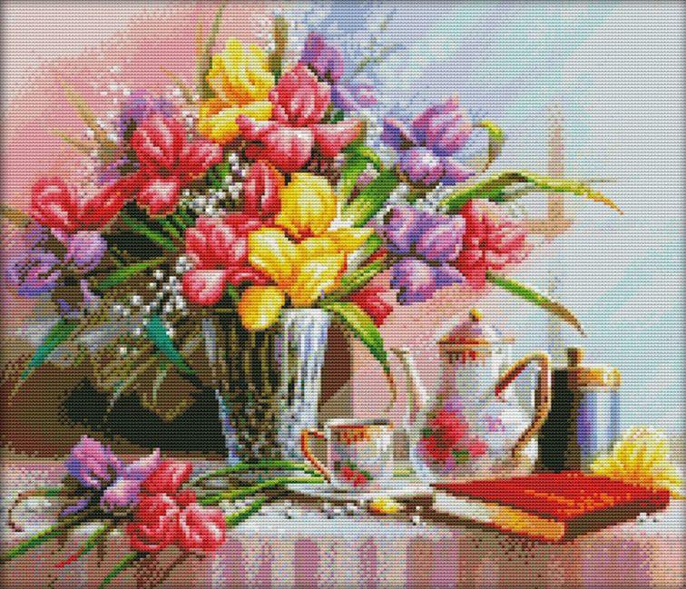 Набор для вышивания крестом 59х53 Натюрморт с тюльпанами Joy Sunday H374