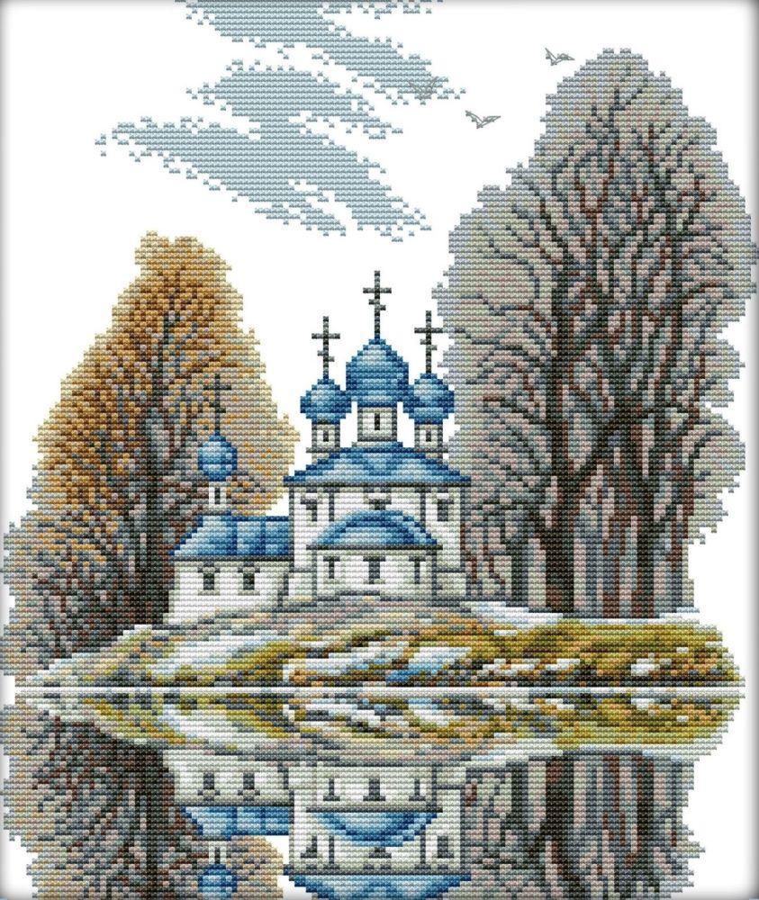 Набір для вишивання хрестом 32х37 Церква на березі Joy Sunday F336