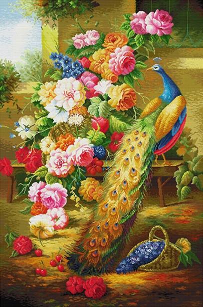 Набір для вишивання хрестом 66х95 Павич і квіти Joy Sunday D085