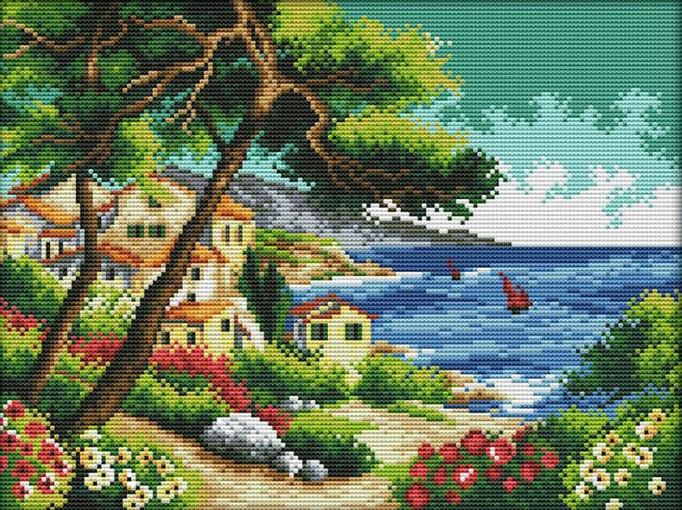 Набір для вишивання хрестом 36х29 Морський пейзаж Joy Sunday F920