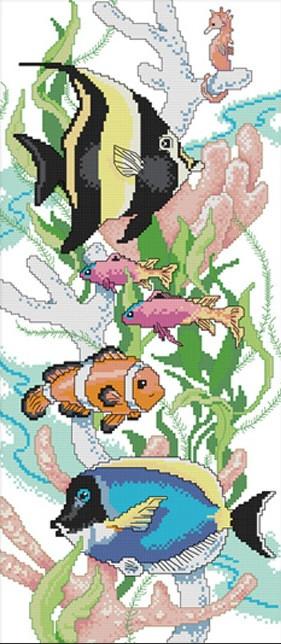 Набір для вишивання хрестом 28х53 Тропічні рибки Joy Sunday D592