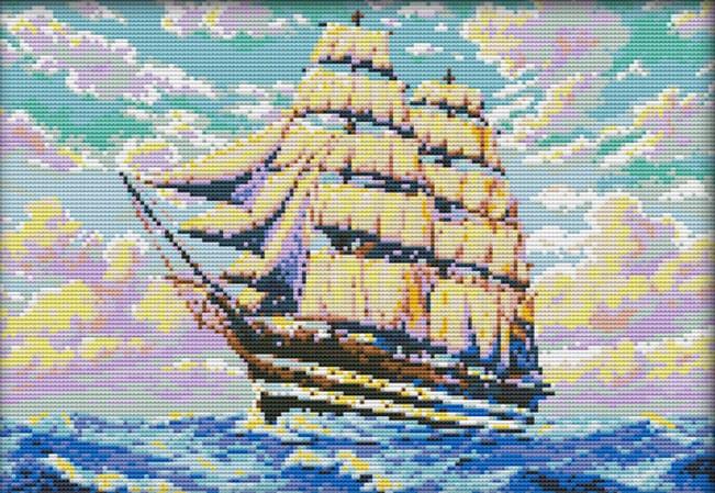 Набір для вишивання хрестом 40х30 Корабель на хвилях Joy Sunday F794