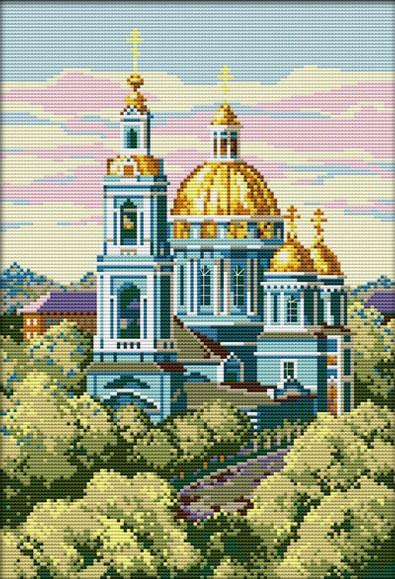 Набор для вышивания крестом 29х40 Голубая церковь Joy Sunday F348