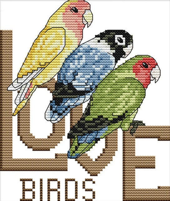 Набір для вишивання хрестом 17х20 Три папугу Joy Sunday D623