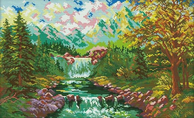 Набір для вишивання хрестом 49х33 Гірський водоспад Joy Sunday F819