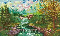 Набір для вишивання хрестом 49х33 Гірський водоспад Joy Sunday F819, фото 1