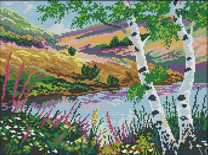 Набір для вишивання хрестом 39х31 На березі озера Joy Sunday F796