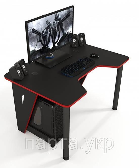Геймерский игровой стол ZEUS IVAR-1200, черный/красный