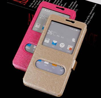 """Meizu M2 mini 5.0"""" оригинальный чехол книжка влагостойкий ШЕЛКОВАЯ ФАКТУРА золотой """"SILC FLIP"""""""