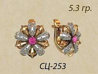 Необыкновенные золотые серьги из белого и красного золота 585* пробы