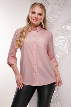 Женская батальная блуза из супер софта пудровая 52