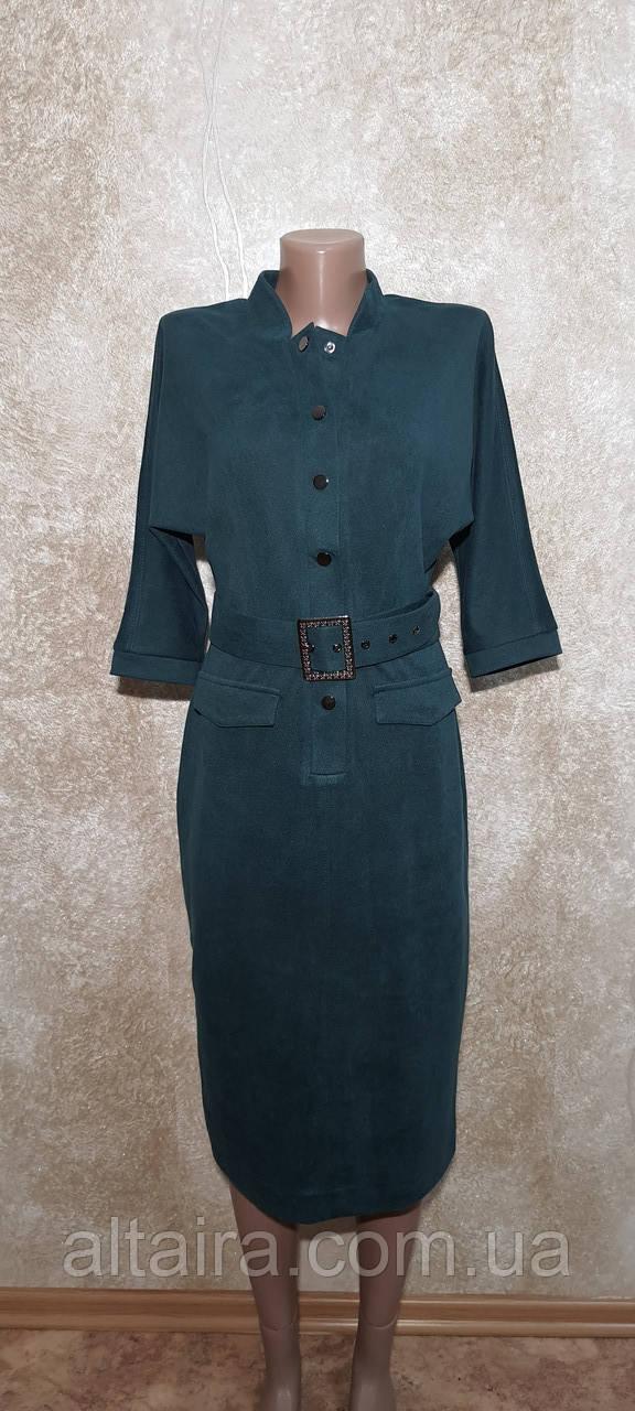 Стильное бирюзовое женское платье. Размер 46.