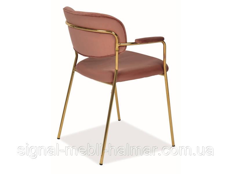 Стілець обідній CARLO II VELVET античний рожевий / золотий(Signal)