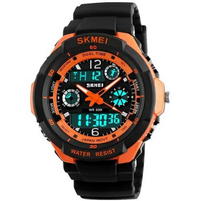 Годинник Skmei 0931, чорний-орнажевая окантовка, в металевому боксі