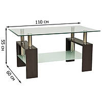 Прямоугольный журнальный столик из стекла Lisa II 110x60x55см с дополнительной полкой на ножках цвета венге