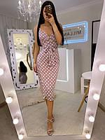 """Жіночий шовковий сарафан в горошок """"Летуаль""""(пудра, мокко, шоколад, блакитний, хакі), фото 1"""