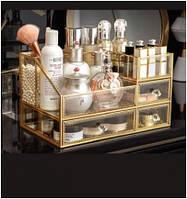 Большой красивый стеклянный органайзер для косметики и кистей Crystal-15