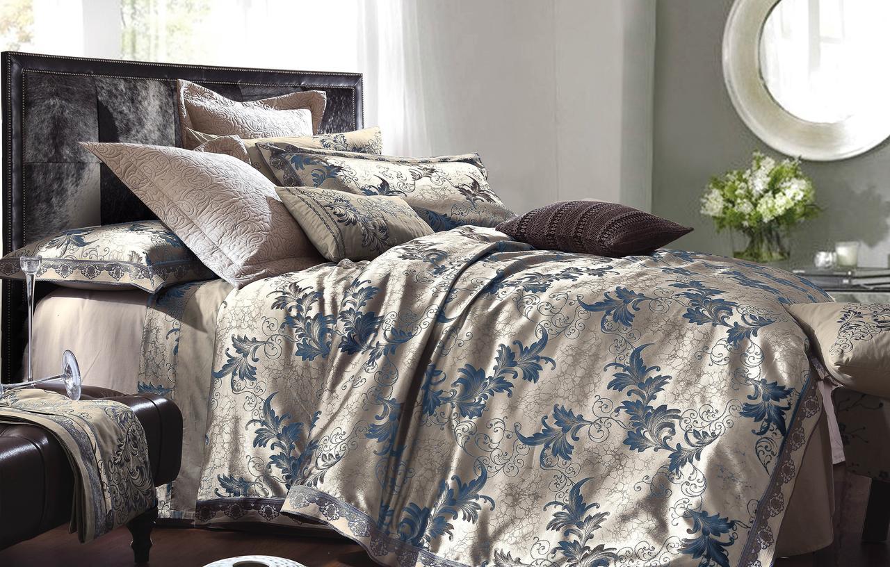 Двуспальный комплект постельного белья 180*220 жаккард сатин (16447) TM КРИСПОЛ Украина