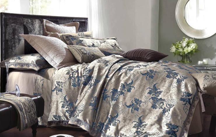 Двуспальный комплект постельного белья 180*220 жаккард сатин (16447) TM КРИСПОЛ Украина, фото 2