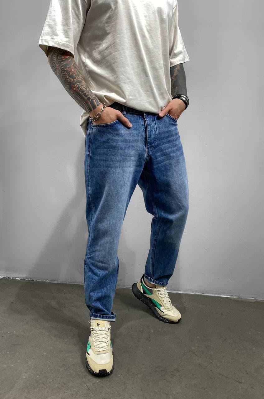 Чоловічі джинси МОМ прямі синього кольору