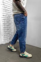 Чоловічі джинси МОМ прямі синього кольору, фото 3