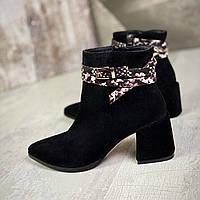 Жіночі замшеві чоботи ботильйони на підборах 36-40 р чорний, фото 1