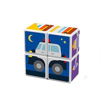 Конструктор Магнітні кубики Транспорт + 7 карток