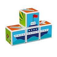 Конструктор Магнітні кубики Транспорт + 7 карток, фото 4