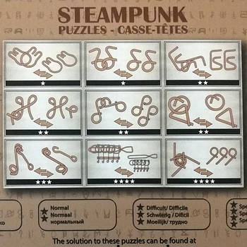 Набір головоломок 9 Steampunk Puzzles Set коричневий