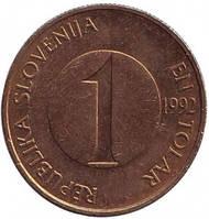 Ручьевая форель. Монета 1 толар. 1992,99 год, Словения. (БЕ)