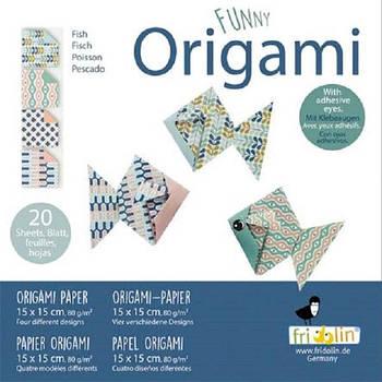 """Веселі орігамі """"Риби"""" 20 аркушів 15х15 см"""