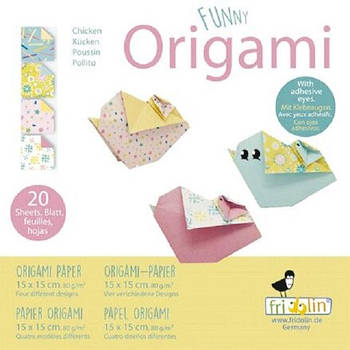 """Веселі орігамі """"Пташенята"""" 20 аркушів 15х15 см"""